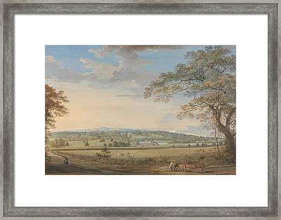 A View Of Vinters At Boxley, Kent, With Mr. Whatman's Turkey Paper Mills Framed Print by Paul Sandby