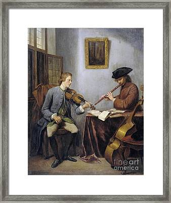 A Violinist And A Flutist Making Music Framed Print by MotionAge Designs