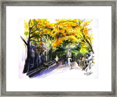A Walk Through The Park Framed Print by Liz Viztes