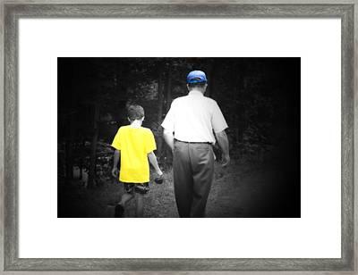 A Walk With Grandpa Framed Print by Cathy  Beharriell