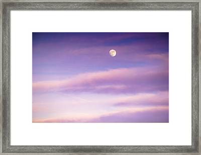 A White Moon In Twilight Framed Print by Ellie Teramoto