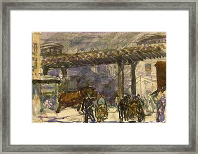 A Winter Day - Under The Elevated Near Brooklyn Bridge Framed Print by George Bellows