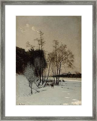 A Winter View In Posen Framed Print by Hans Hampke