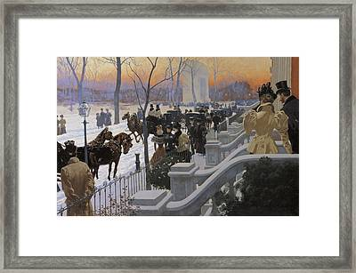 A Winter Wedding Washington Square Framed Print by Fernand Lungren