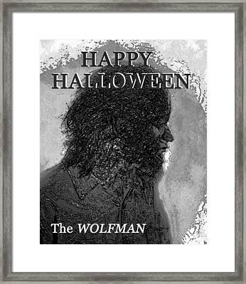 A Wolfman Halloween Framed Print by David Lee Thompson