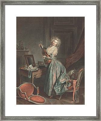 A Woman Playing The Guitar Framed Print by Jean-Francois Janinet