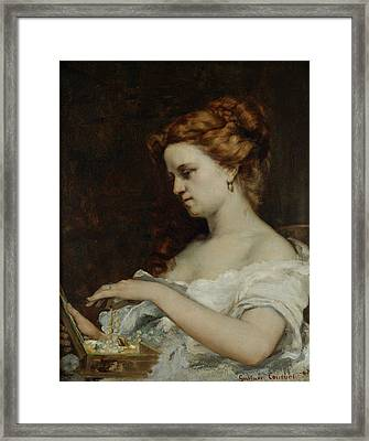A Woman With Jewellery Framed Print by Gustave Courbet