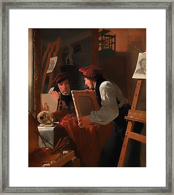 A Young Artist Examining A Sketch In A Mirror Framed Print by Mountain Dreams
