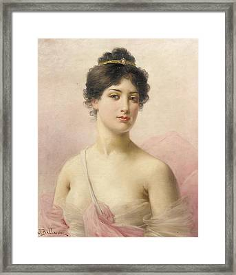 A Young Beauty Framed Print by Jules Frederic Ballavoine