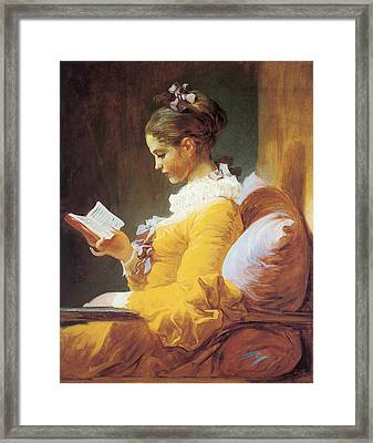 A Young Girl Reading Framed Print by Jean Honore Framgonard