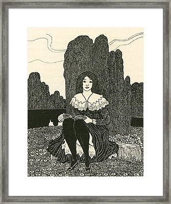 A Young Girl Sat Alone Reading Framed Print by German School