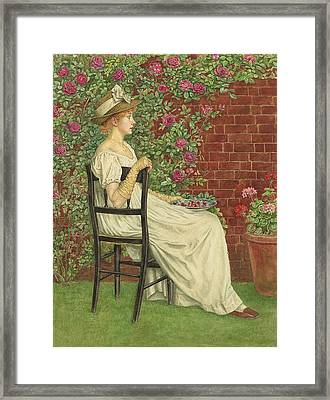A Young Girl Seated In A Chair, A Bowl Of Cherries In Her Hand Framed Print by Kate Greenaway