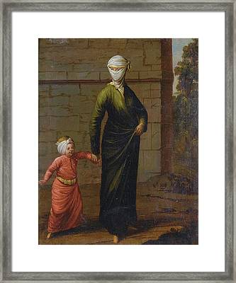 A Young Turkish Woman And Her Framed Print by Jean Baptiste