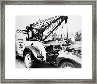 Aaa Tow Truck Framed Print by Underwood Archives