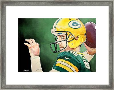 Aaron Rodgers - Green Bay Packers Framed Print by Michael  Pattison