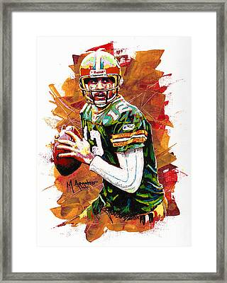 Aaron Rodgers Framed Print by Maria Arango