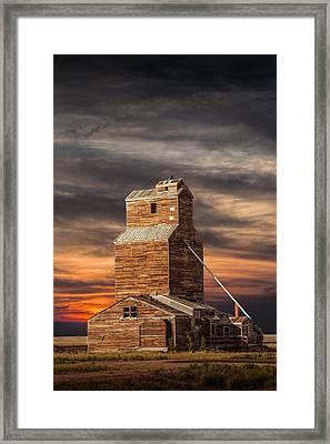 Abandoned Grain Elevator On The Prairie Framed Print by Randall Nyhof