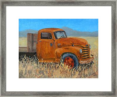 Abandoned Orange Chevy Framed Print by David King