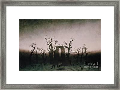 Abbey In The Oakwood Framed Print by Caspar David Friedrich