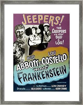 Abbott And Costello Meet Frankenstein Framed Print by Everett