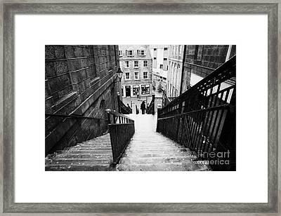 Aberdeen Union Street Back Wynd Stairs Scotland Uk Framed Print by Joe Fox