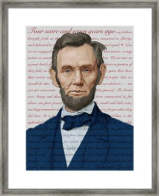 Abraham Lincoln - Patriotic Palette Framed Print by Swann Smith