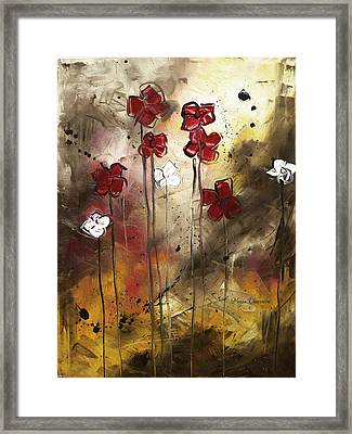 Abstract Art Original Flower Painting Floral Arrangement By Madart Framed Print by Megan Duncanson
