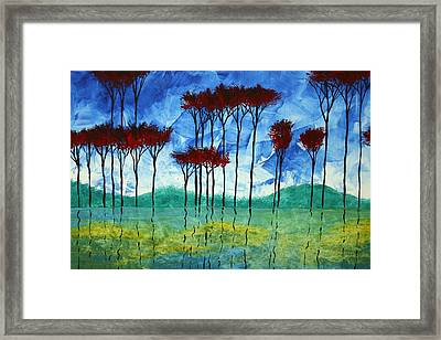 Abstract Art Original Landscape Painting Reflective Beauty By Madart Framed Print by Megan Duncanson