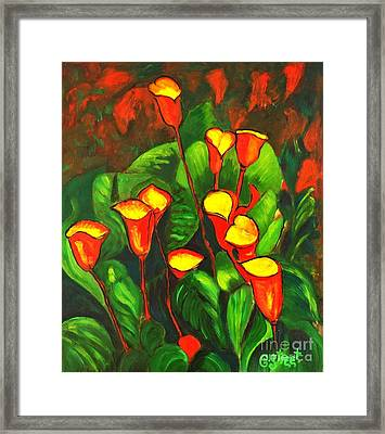 Abstract Arum Lilies Framed Print by Caroline Street