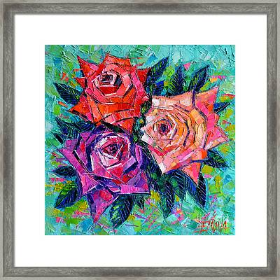 Abstract Bouquet Of Roses Framed Print by Mona Edulesco