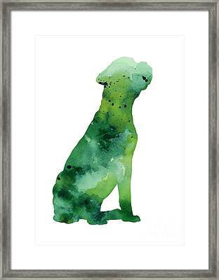 Abstract Boxer Silhouette Watercolor Art Print Painting Framed Print by Joanna Szmerdt