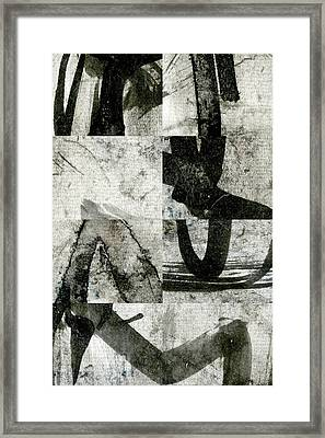 Abstract Calligraphy Collage 2 Framed Print by Carol Leigh