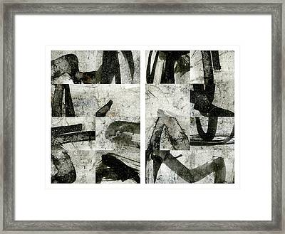 Abstract Calligraphy Collage Diptych Framed Print by Carol Leigh