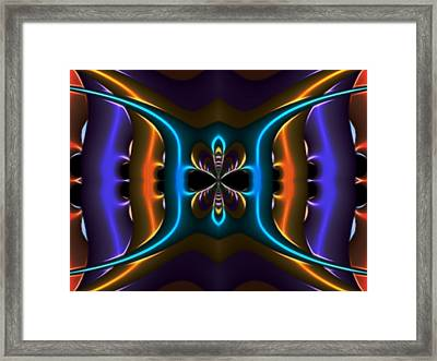 Abstract Fractal Kaleidoscope Butterfly Framed Print by Gina Lee Manley
