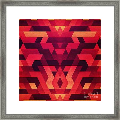 Abstract  Geometric Triangle Texture Pattern Design In Diabolic Future Red Framed Print by Philipp Rietz