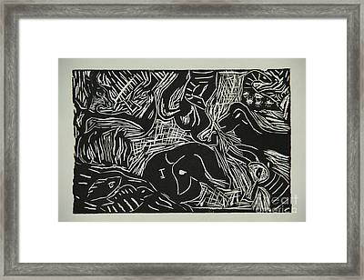 Abstract Greece Inspired Black And White Linoleum Print Framed Print by Marina McLain