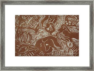 Abstract Greece Inspired Brown Linoleum Print Cropped Framed Print by Marina McLain