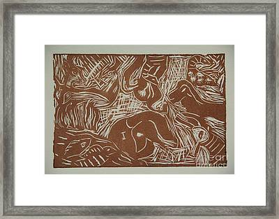 Abstract Greece Inspired Brown Linoleum Print Framed Print by Marina McLain