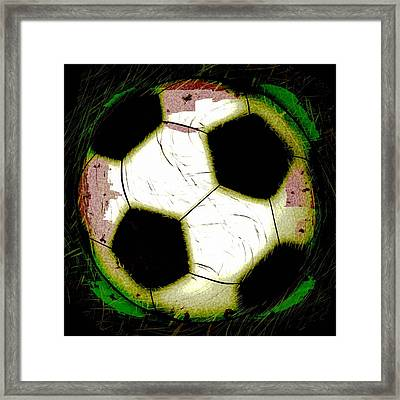 Abstract Grunge Soccer Ball Framed Print by David G Paul
