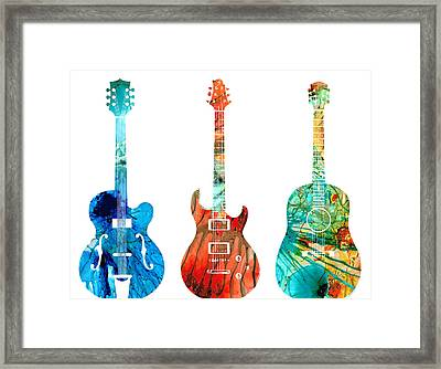 Abstract Guitars By Sharon Cummings Framed Print by Sharon Cummings