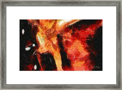 Abstract Orange Red Framed Print by Russ Harris