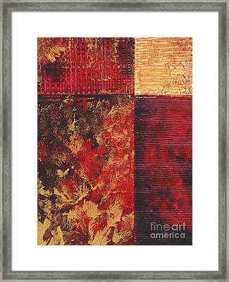 Abstract Original Painting Contemporary Metallic Gold And Red Texture Madart Framed Print by Megan Duncanson