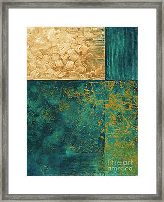 Abstract Original Painting Contemporary Metallic Gold And Teal By Madart Framed Print by Megan Duncanson