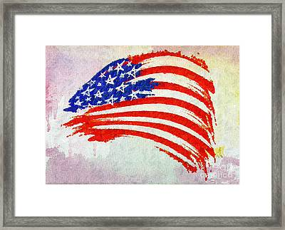 Abstract Painted American Flag Framed Print by Stefano Senise
