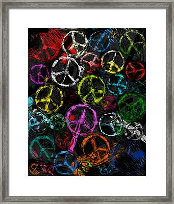 Abstract Peace Signs Collage Framed Print by David G Paul