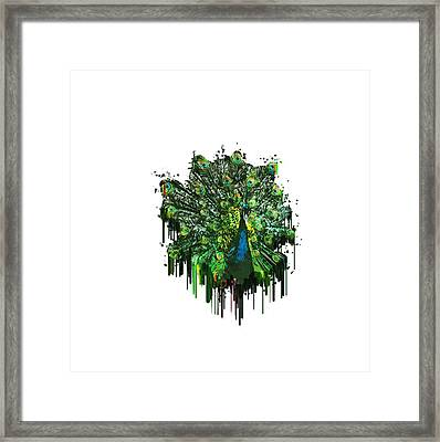Abstract Peacock Acrylic Digital Painting Framed Print by Georgeta Blanaru