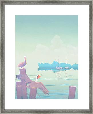 Abstract Pelicans Tropical Florida Seascape Sailboats Large Pop Art Nouveau 1980s Stylized Painting Framed Print by Walt Curlee