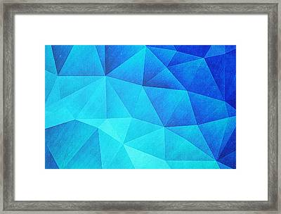 Abstract Polygon Multi Color Cubizm Painting In Ice Blue Framed Print by Philipp Rietz