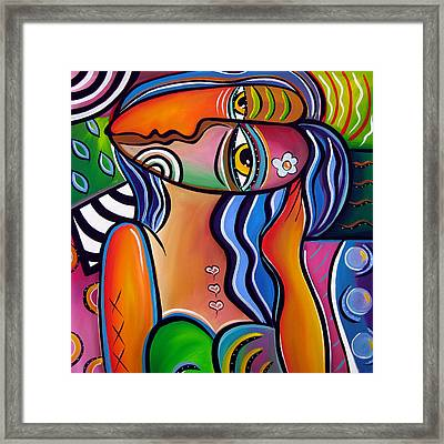 Abstract Pop Art Original Painting Shabby Chic Framed Print by Tom Fedro - Fidostudio