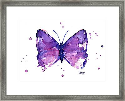 Abstract Purple Butterfly Watercolor Framed Print by Olga Shvartsur